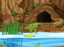Cocodrilo en el pantano stock de ilustración