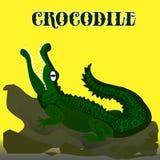 Cocodrilo verde oscuro con la boca abierta que mira para arriba, historieta en grito ilustración del vector