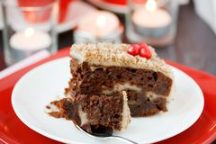 Cocolate cake with nuts. Royalty Free Stock Image