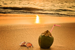 Coconat and glasses on the beach. Silhouette of a coconat on the sea  beach at sunset Stock Image