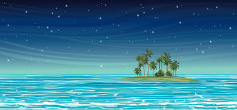 Coconat island in the sea at night. Vector seascape. Royalty Free Stock Image