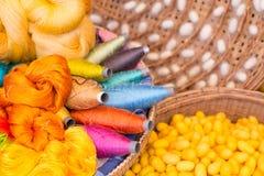 Cocons en soie colorés de fil et de ver à soie Photo libre de droits