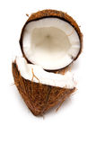 Coconut. Halved on a white studio background Stock Photos