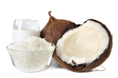 Coconut. Fresh coconut, shredded coconut, and coconut cream, isolated on white Stock Images