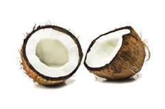 Coconut. Broken coconut isolated on white Royalty Free Stock Image