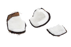 Coconut. Pieces of coconut isolated on white Royalty Free Stock Images