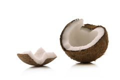 Coconut. Open coconut over white background Royalty Free Stock Photography