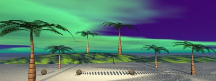 Coconut. And palms and sky green stock illustration