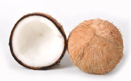 Coconut. Broken coconut on white background stock images
