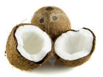 Coconut. With two halfs isolated on white background Royalty Free Stock Images