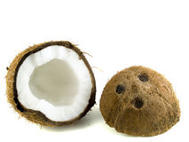 Coconut. Halfs isolated on white background Stock Images
