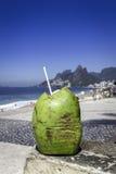Coconut against Ipanema Beach, Rio de Janeiro stock photography
