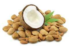 Coconut and almond stock photography