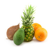 Coconut, avocado, pineapple and orange Royalty Free Stock Image