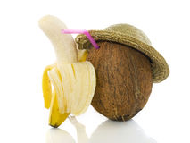 Coconut with banana friend. Coconut with hat and banana isolated on a white background Stock Images