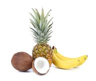 Coconut, banana and pineapple. Royalty Free Stock Photography