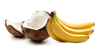 Coconut and bananas Royalty Free Stock Photos