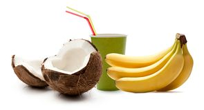 Coconut and bananas Stock Photos