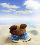 Coconut at beach fun concept Stock Photo