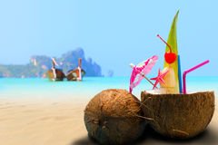 Coconut on the beach in Phi Phi island Royalty Free Stock Photo
