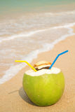 Young coconut on the sunny beach in the summer Stock Photos