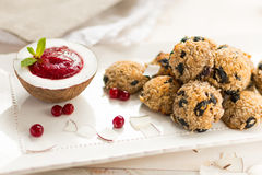 Coconut biscuits balls with cranberry sauce in coconut with mint on a white plate. In a high key selective focus Stock Photos