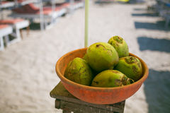 Coconut in a bowl Royalty Free Stock Photos