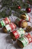Coconut bread with cinnamon. Edible Christmas present: coconut bread with cinnamon Stock Photography