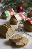 Coconut bread with cinnamon. Edible Christmas present: coconut bread with cinnamon Stock Image