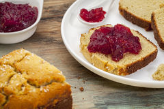 Coconut bread with cranberry sauce Royalty Free Stock Image