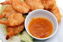Coconut breaded shrimp Stock Image