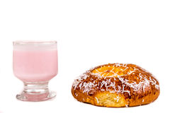 Coconut bun and yogurt Stock Photography