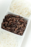 Coconut and Cacao. Dried coconut shavings and raw cacao nibs Royalty Free Stock Photo