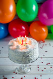 Coconut cake for birthday Royalty Free Stock Photography