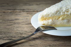 Coconut Cake. Close up  a spoon on a coconut cake dish Royalty Free Stock Photos