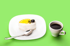 Coconut of cake and coffee cup Stock Photo