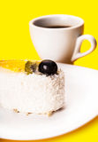 Coconut of cake and coffee cup Stock Images