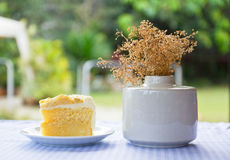 Coconut cake and vase Royalty Free Stock Photo