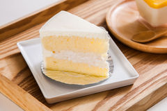 Coconut Cake on the wood tray Stock Photography