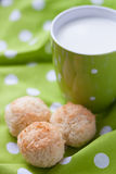 Coconut cakes with a cup of milk Stock Photography