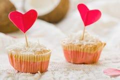 Coconut cakes  St. Valentine's Day. Stock Image