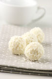 Coconut candies close-up. Close-up of coconut candies on dotted napkin Royalty Free Stock Photos