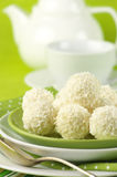 Coconut candies and tea Royalty Free Stock Photos