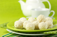 Coconut candies and tea Royalty Free Stock Images