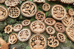 Coconut carved ornaments. Royalty Free Stock Photography