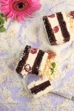 Coconut and cherry cake Stock Photo