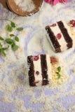 Coconut and cherry cake Stock Photos