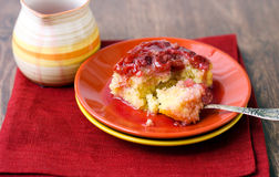 Coconut and cherry upside down cake. Served Royalty Free Stock Photography