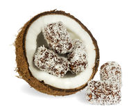 Coconut with chocolate cake Stock Photography
