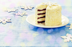 Coconut chocolate cake with butter cream Royalty Free Stock Photo